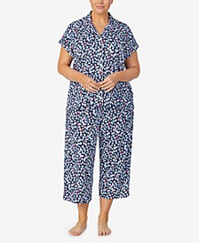 Plus Size Printed Capri Pajama Set