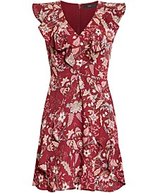 Pleated Floral-Print Dress