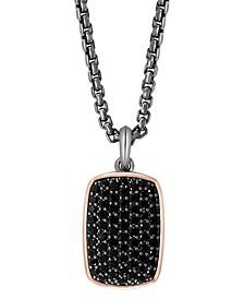 """EFFY® Men's Black Spinel Cluster Dog Tag 22"""" Pendant Necklace in Sterling Silver & 18k Rose Gold-Plate"""