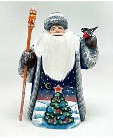 Woodcarved Hand Painted Christmas Tree Santa Figurine