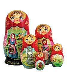 Easter Story 5 Piece Russian Matryoshka Wooden Nested Dolls Set
