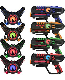 ArmoGear Infrared Laser Tag Blasters and Vests - Laser Battle Mega - Pack Set of 4