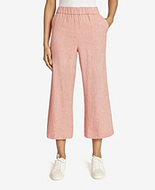 Women's Pull On Paperbag Waist Wide Leg Crop Pant