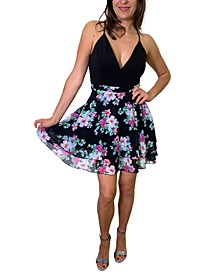Juniors' Lace-Back Floral-Print A-Line Dress