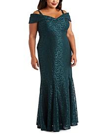Plus Size Off-The-Shoulder Lace Gown
