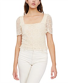 Martina Square-Neck Crochet Top