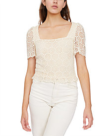 Lucy Paris Martina Square-Neck Crochet Top