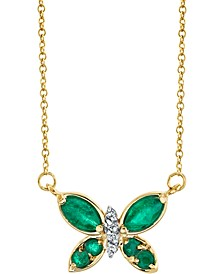 """Emerald (5/8 ct. t.w.) & Diamond (1/20 ct. t.w.) Butterfly 18"""" Pendant Necklace in 14k Gold"""