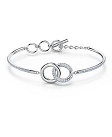Crystal Interlink-Ring Bangle Bracelet