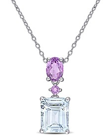 "Delmar Aquamarine (3 ct. t.w.) & Amethyst (3/4 ct. t.w.) 18"" Pendant Necklace in Sterling Silver"