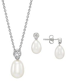 Cultured Freshwater Pearl (7-1/2mm) & White Topaz (5/8 ct. t.w.) Drop Earrings and Necklace Set  in Sterling Silver