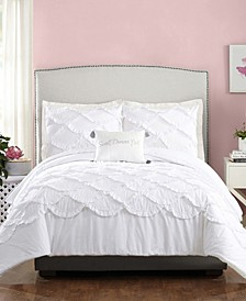 4 Piece Ruffled Scallop King Comforter Set