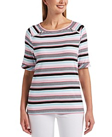 Multi-Stripe Elbow Sleeve Boat Neck Top