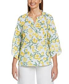 Lemonade Print Bracelet Sleeve Poplin Top