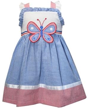 Blueberi Boulevard Little Girls Gingham-Print Butterfly Dress