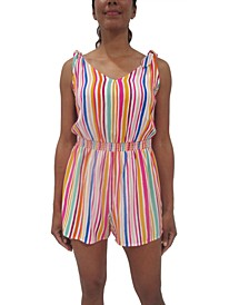Juniors' Striped Tie-Shoulder Romper