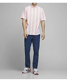 Men's Organic Striped Cotton Short Sleeve Shirt