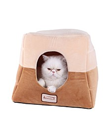 2-In-1 Cat Bed Cave Shape and Cuddle Pet Bed