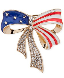 Gold-Tone Pavé Red, White & Blue Flag Bow Pin
