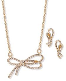 Gold-Tone Pavé Bow Statement Necklace & Drop Earrings Set