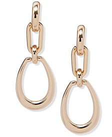 Gold-Tone Double Link Drop Earrings