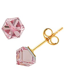 Swarovski Square Crystal Stud Earrings in 10k Gold