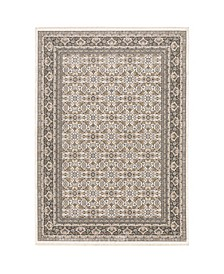 "Kumar Kum07 Ivory and Gray 6'7"" x 9'6"" Area Rug"