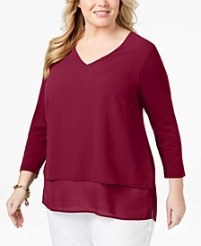 Plus Size Mixed-Media V-Neck Tunic