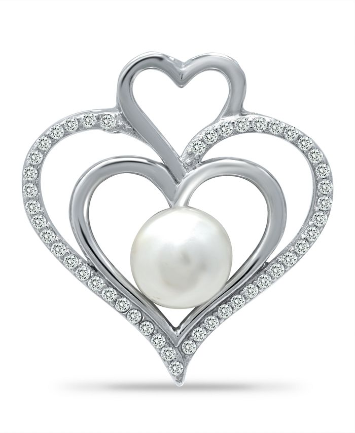 """Macy's - Imitation Pearl and Cubic Zirconia Pave Triple Heart Slide Pendant on in Fine Silver Plate 18"""""""