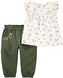 Baby Girl 2-Piece Floral Jersey Top & Linen Pant Set