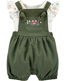 Baby Girl 2-Piece Floral Bodysuit & Shortall Set