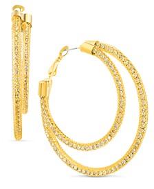 "Gold-Tone Large Pavé Mesh Double-Row Hoop Earrings, 2.36"""