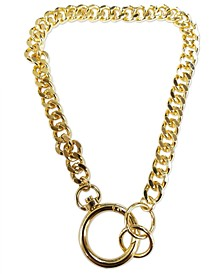 """Gold-Tone Curb Link 15-1/3"""" Choker Necklace"""