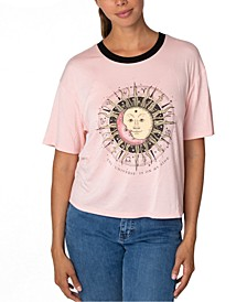 Juniors' Celestial Graphic Ringer T-Shirt