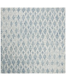 Abstract 206 Ivory and Blue 6' x 6' Square Area Rug
