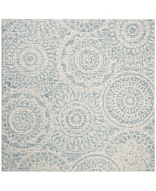 Abstract 205 Ivory and Blue 6' x 6' Square Area Rug
