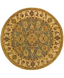 Anatolia An547 Blue and Ivory 8' x 8' Round Area Rug