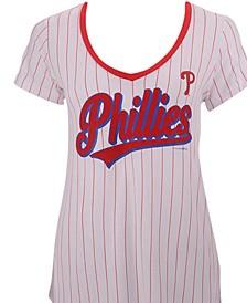 Women's Philadelphia Phillies Pinstripe V-Neck T-Shirt