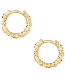 Small Patterned Huggie Hoop Earrings, 0.51""