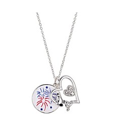 """Fine Silver Plated """"Snoopy"""" Americana Fireworks Heart Pendant Necklace, 16""""+2"""" for Unwritten"""