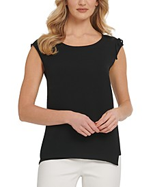 Chiffon-Trim Sleeveless Top