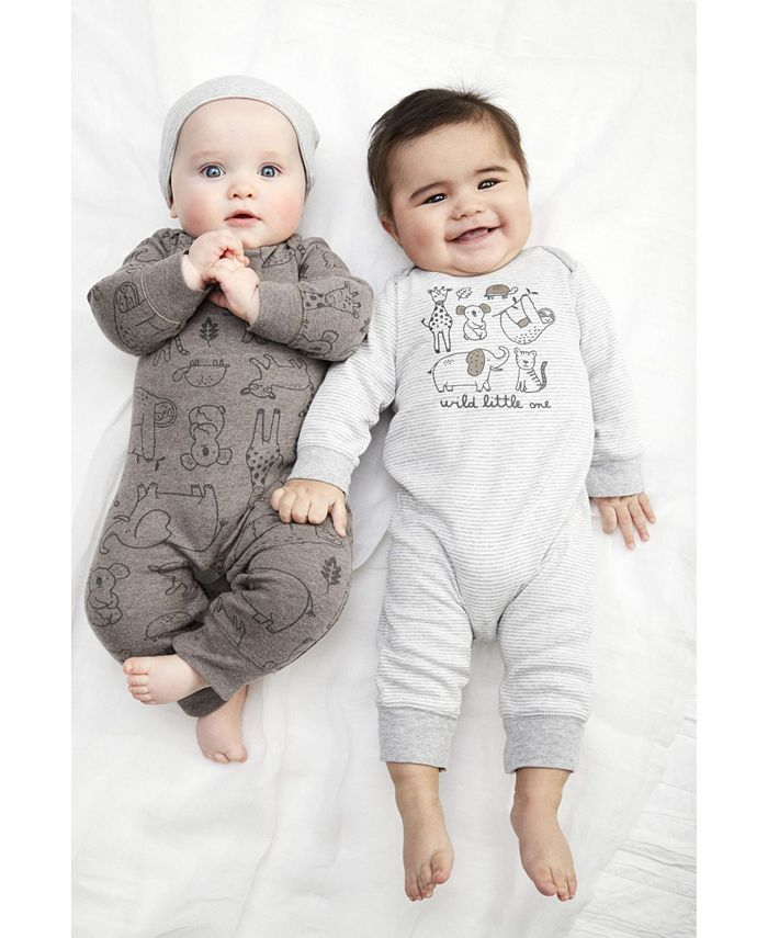 Carter's - Baby Boys 3-Pc. Printed Coveralls & Hat Set
