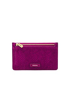 Women's Logan Zip Card Case Woven Emboss with Tassel