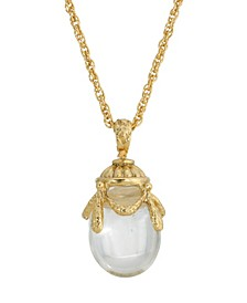 14K Gold Plated Clear Glass Egg Pendant Necklace
