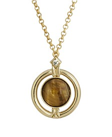 Gold-Tone Round Tiger Eye Semi Precious Stone Necklace