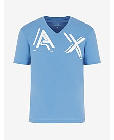 Men's Short Sleeve Stamped 3-D Block AX Logo V-Neck T-Shirt