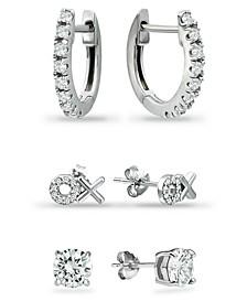 3-Pc. Set Cubic Zirconia Hoop & Stud Earrings in Sterling Silver, Created for Macy's