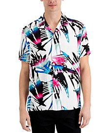 Men's Short Sleeve Abstract Palm Leaf Shirt