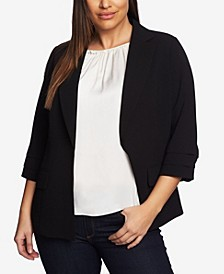 Women's Plus Moss Crepe Blazer with Pleated Sleeves