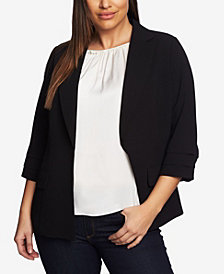 CeCe Women's Plus Moss Crepe Blazer with Pleated Sleeves